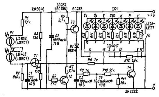 фоторезисторов F1 и F2.